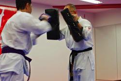 「ミット打ち」突きや蹴りをミットに打ち込みます。